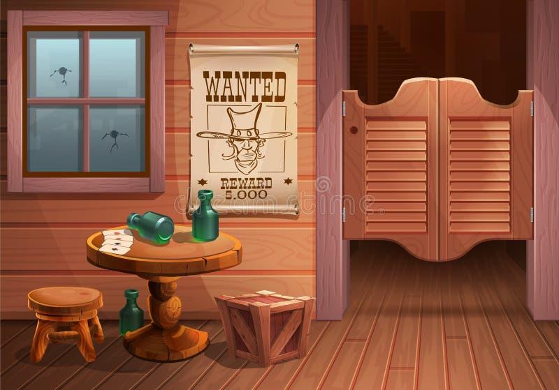 Wilde Westhintergrundszene - Tür des Saals, Tabelle mit Stuhl und Plakat mit Cowboy stellen gegenüber und die Aufschrift wird gew lizenzfreie stockfotografie