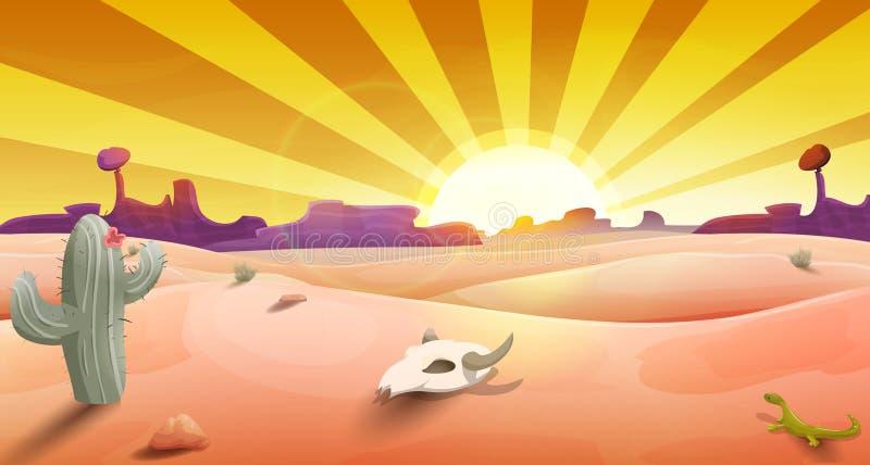 Wilde Westlandschaft mit Wüste am Sonnenuntergang, am Kaktus, an den Bergen und am Scull lizenzfreie abbildung