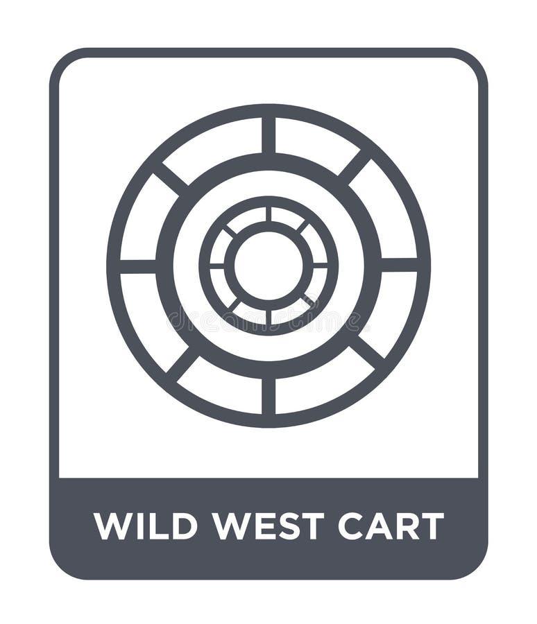 wilde Westwagenikone in der modischen Entwurfsart wilde Westwagenikone lokalisiert auf weißem Hintergrund wilde Westwagenvektorik stock abbildung
