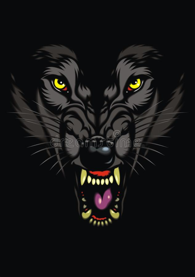 Wilde wolf in dark royalty-vrije illustratie
