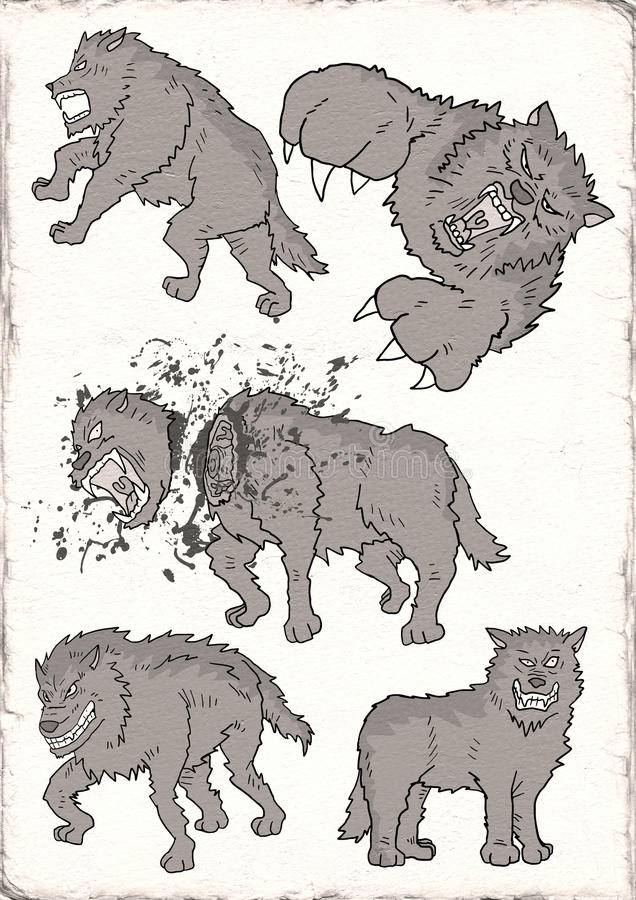 Wilde wolfsillustratie vector illustratie