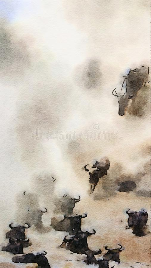 Wildebeest leap into the Mara River during the annual great migration. Digital watercolour stock illustration