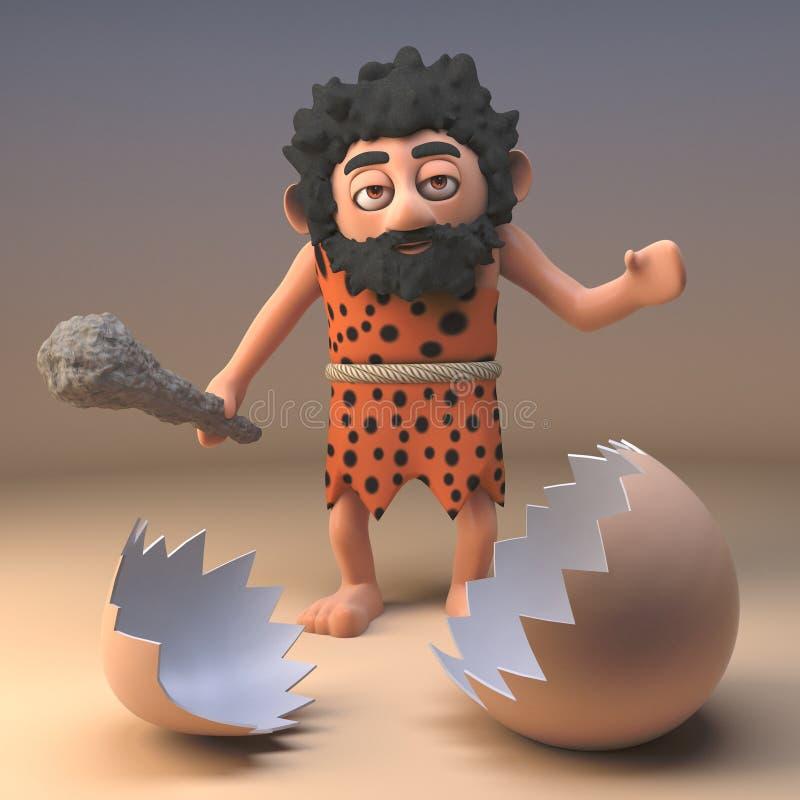 Wilder Charakter des stummen Höhlenbewohners mit Vereinblicken auf eine defekte Dinosauriereierschale, Illustration 3d lizenzfreie abbildung