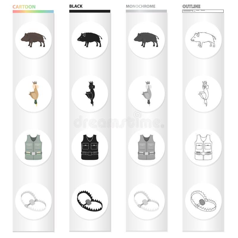 Wilder Eber, Entenspiel, Jäger ` s Weste, Falle auf den gesetzten Sammlungsikonen Tier Jagd im Karikaturschwarz-Monochromentwurf vektor abbildung