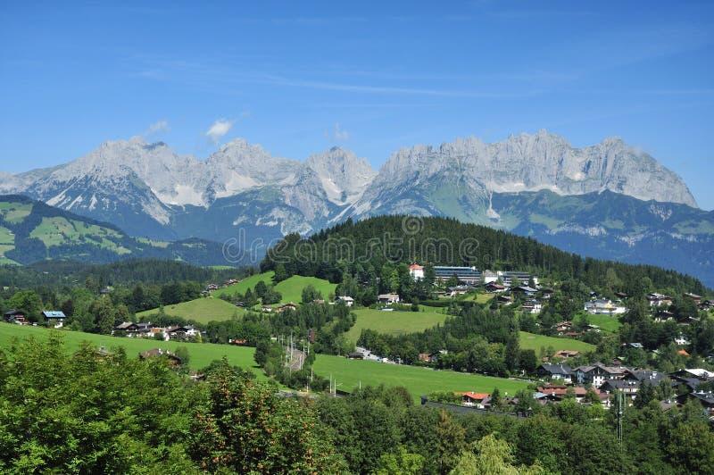 Wilder Kaiser. The view on Wilder Kaiser mountains in Kitzbühel alps - Austria royalty free stock photography