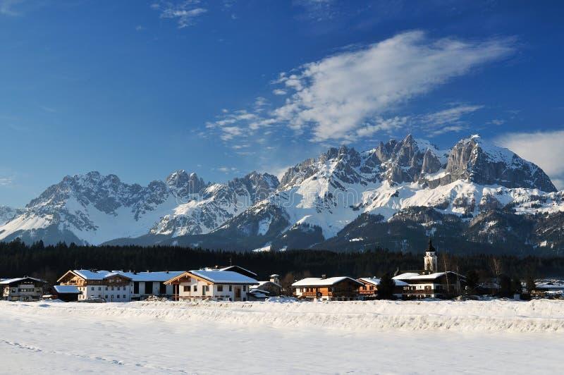 Wilder Kaiser. Winter scenery in Oberndorf in Tirol village under Wilder Kaiser mountains - Austria stock photography