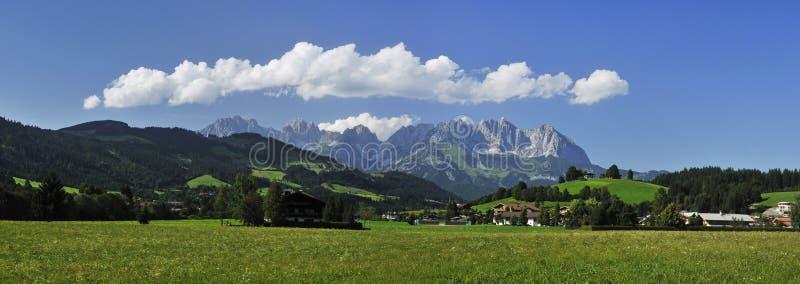 Wilder Kaiser in Austria. A view on Wilder Kaiser mountains in Tirol Alps stock images