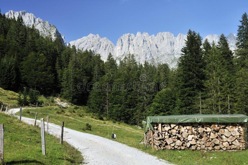 Wilder Kaiser in Austria. A view on Wilder Kaiser mountains in Tirol Alps royalty free stock images