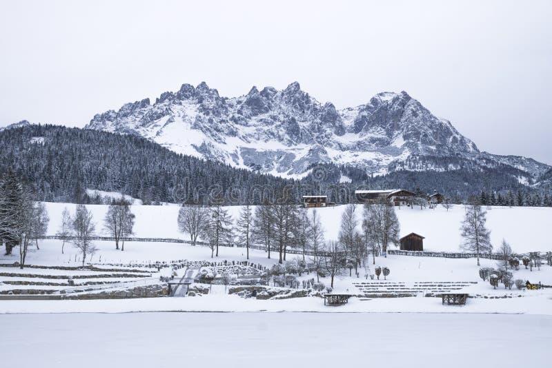 Wilder Kaiser covered with snow, Going am Wilden Kaiser. Tirol, Austria stock photos