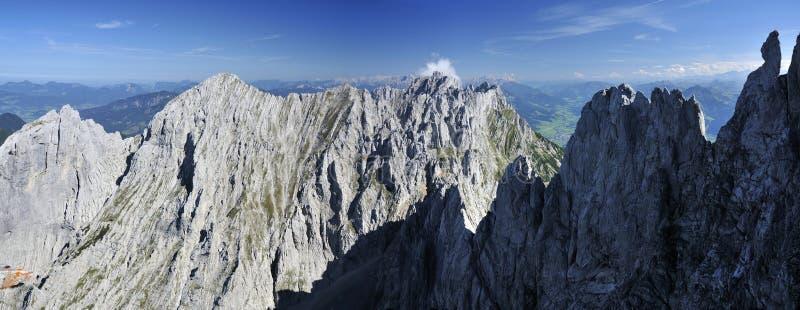 Wilder Kaiser. Karlspitze Summits, Fleischbank & Totenkirchl in Wilder Kaiser mountains - Austria stock photos