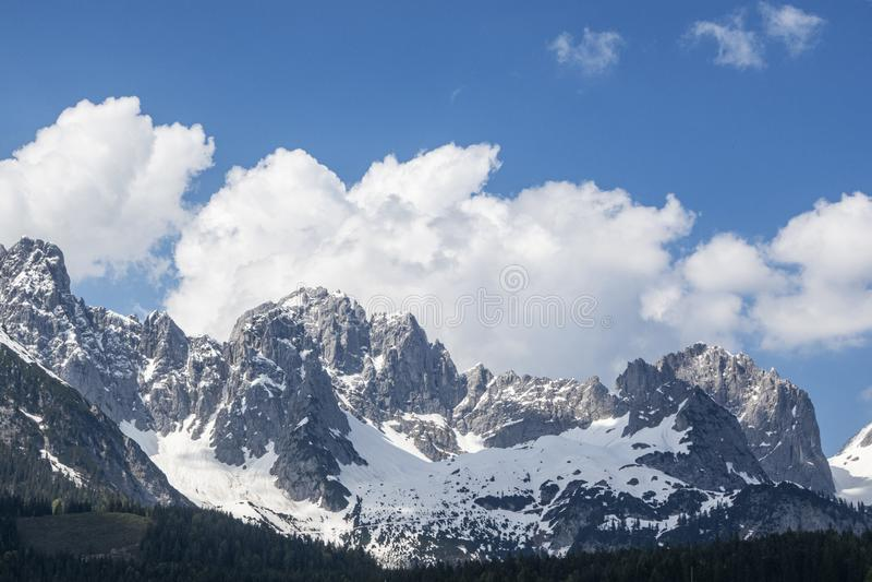 Wilder kaiser mountain range. In austria royalty free stock photo