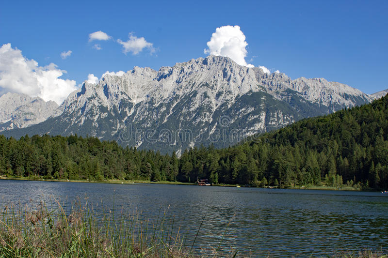 The Wilder Kaiser. A view from Lautersee in Bavaria to The Wilder Kaiser in Austria Tirol royalty free stock images
