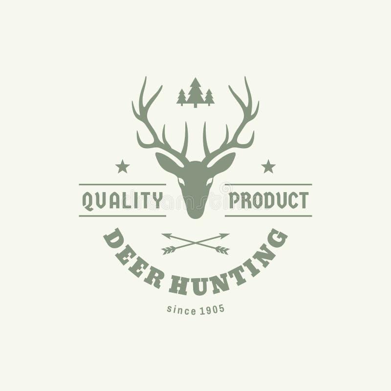 Wilder Rotwildjäger - Konzeptlogoausweis für T-Shirt und andere Druckproduktion Weinleseemblem für Kleidung Element der grafische lizenzfreie abbildung