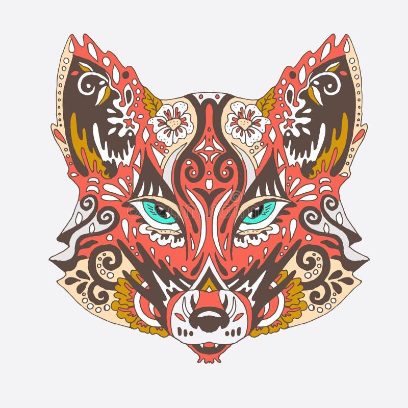Wilder schöner Fuchskopf auf einem weißen Hintergrund Mode in einem vect vektor abbildung