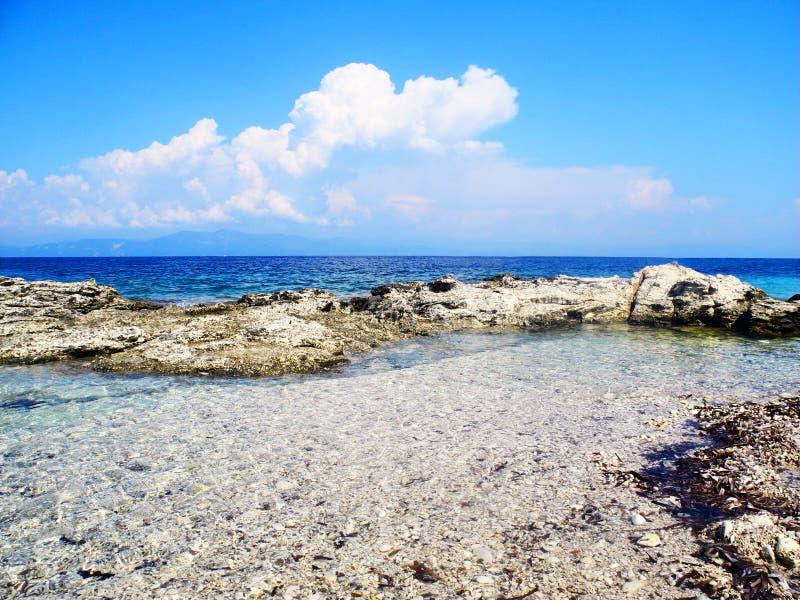Wilder Strand, felsige Küstenlinie mit Aquamarin, Blau, Türkis wat lizenzfreie stockfotografie