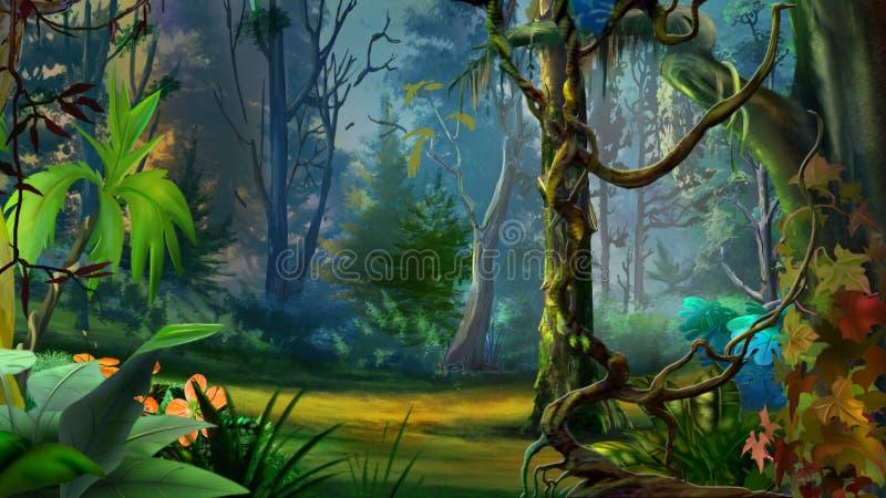 Wilder und dunkler tropischer Wald stock abbildung