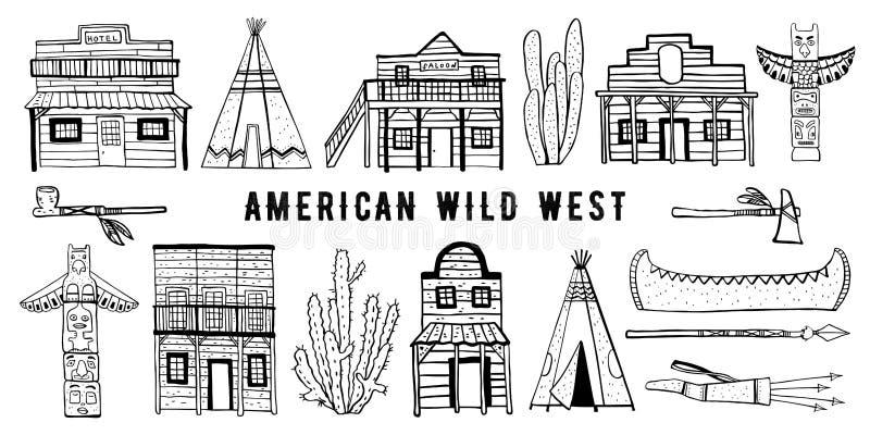 Wilder Westen Amerikas und gebürtiger Indianerhaus- und -gegenstandsatz Handgezogene Entwurfsskizzengekritzel-Vektorillustration vektor abbildung