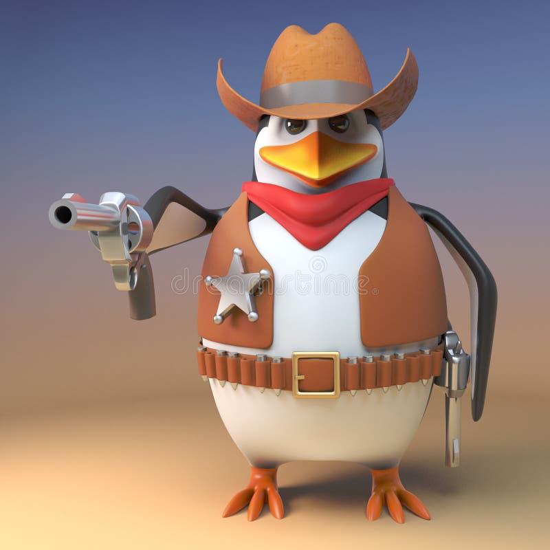 Wilder Westpinguinsheriffcowboy hat seine Pistole gezeichnet und sie auf den Zuschauer, Illustration 3d zeigt lizenzfreie abbildung