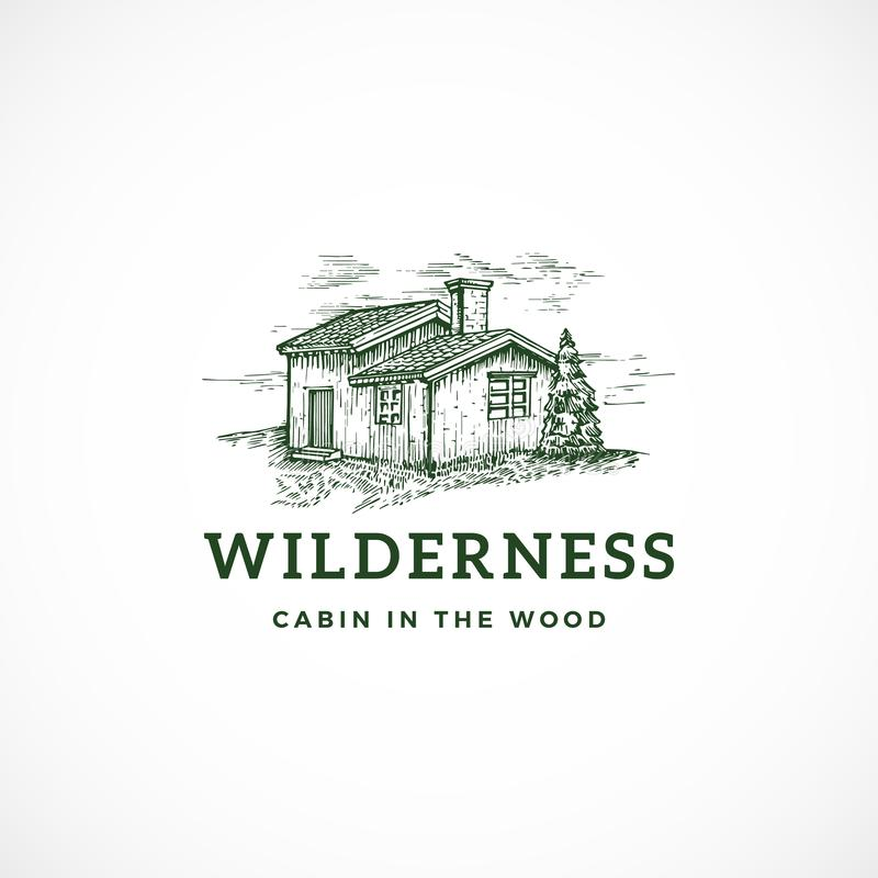 Wilderness Abstract Vector Sign, Symbol or Logo Template. Elegant Cabin in the Wood Drawing Sketch with Classy Retro. Typography. Wild View Vintage Emblem vector illustration