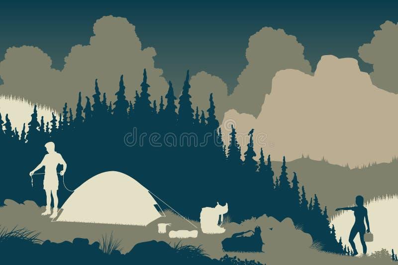 Wilderness camp royalty free illustration