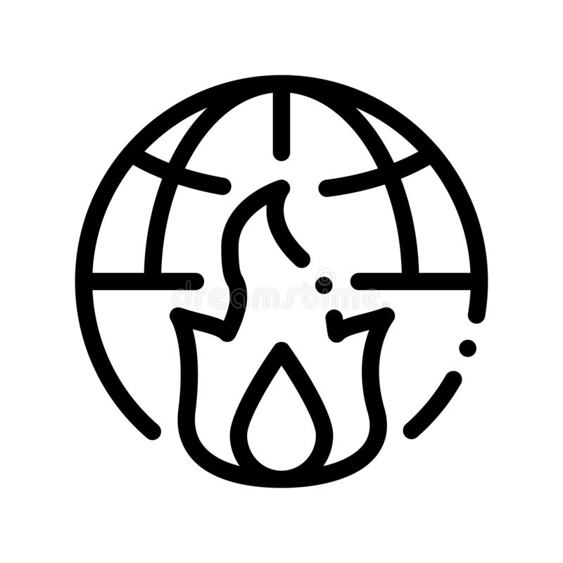 Wilderness Fire Planet Earth Vector Thin Line Icon. Wild Forest Wood Fire Climate Environmental Problem, Industrial Pollution Linear Pictogram. Greenhouse royalty free illustration