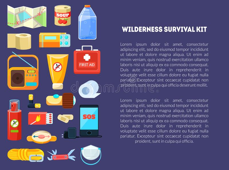 Wilderness Survival Kit Banner Template with Place for Text, Travel Necessities, First Aid Kit, Map, Canned Food, Phone vector illustration