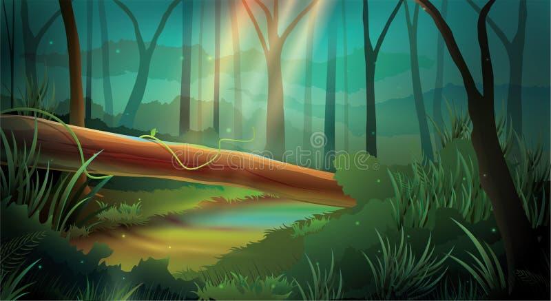 Wildernis de Wijze van de Lichteffectnacht Als achtergrond vector illustratie