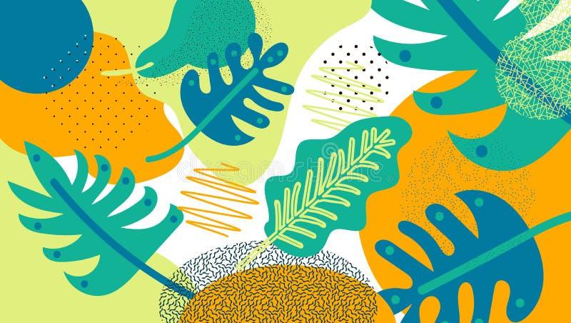 Wildernis tropische bladeren als achtergrond Tropische bladeren, wildernispatroon Forest Foliage Vector bloemenachtergrond Vector stock illustratie