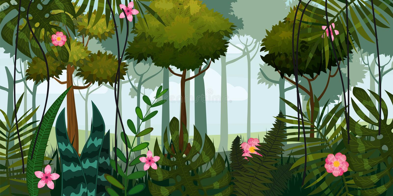 Wildernisbos en bloemen Bomen, bladeren, bloemen, parallax Malplaatje voor video en Webontwerp, apps, online spelen royalty-vrije illustratie
