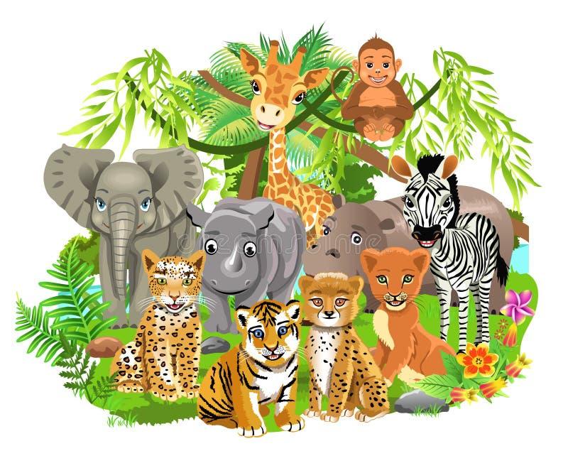Wildernisdieren zoals olifant, zebra, giraf, leeuw, tijger in het tropische bos stock illustratie