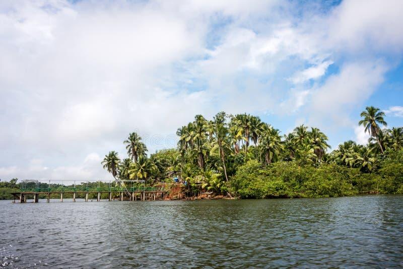 Wildernisdorp in de delta van Rio Verde, Ecuador royalty-vrije stock afbeeldingen