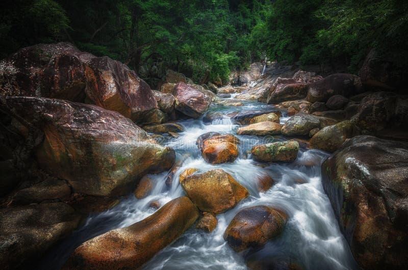 Wildernislandschap met stromend turkoois water van Georgische cascadewaterval bij donkergroene bosberg van Georgië stock fotografie