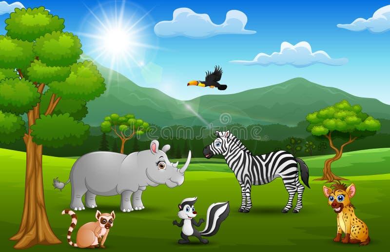 Wildes Tier der Karikatur im Dschungel mit einem Gebirgshintergrund lizenzfreie abbildung