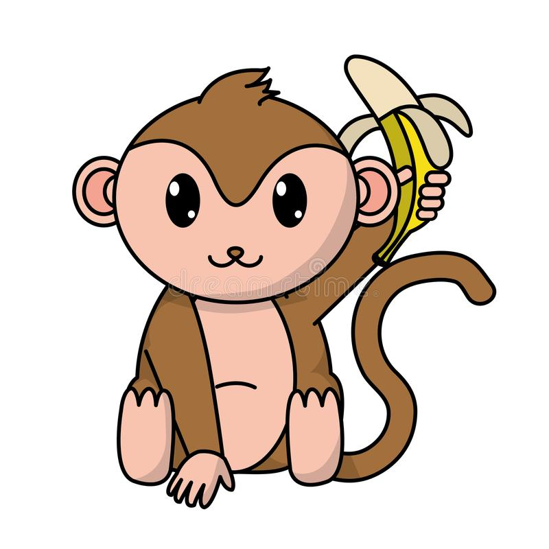 Wildes Tier des entzückenden Affen mit Banane in der Hand stock abbildung