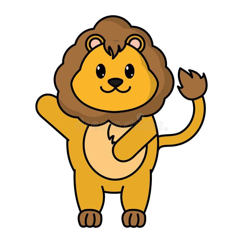 Wildes Tier des entzückenden Löwes mit der Hand oben vektor abbildung