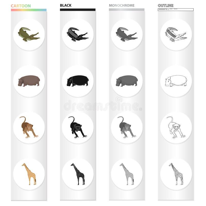 Wildes Tier, Krokodilreptil, Flusspferd, Affe, hohe Giraffe Unterschiedliche Art von gesetzten Sammlungsikonen des Tieres in der  stock abbildung