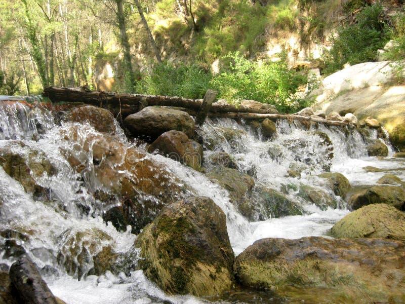 Wildes Wasser des Wasserfalls in tiefem Wald II stockfotos