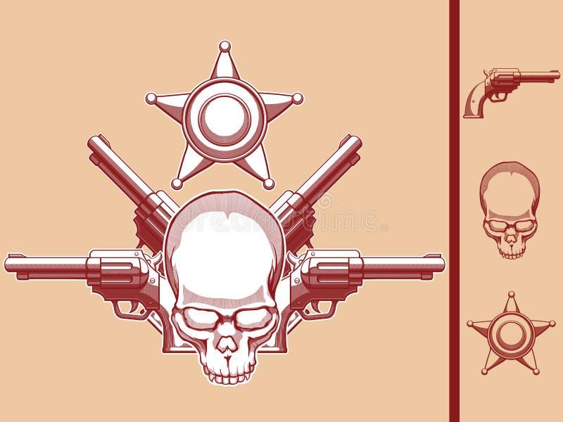 Wildes Westschädel-, Revolver-u. Polizeichef-Abzeichen stock abbildung