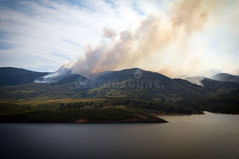Wildfire Burning on the Colorado Mountains stock photos