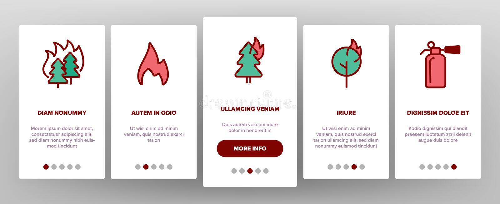 Wildfire, Bushfire Vector Onboarding. Mobile App Page Screen. Wildfire, Natural Disaster Linear Illustrations. Forests, Houses in Flames. Announcing Fire Danger royalty free illustration