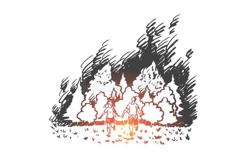 Wildfire, danger, flame, forest, disaster concept. Hand drawn isolated vector. stock illustration