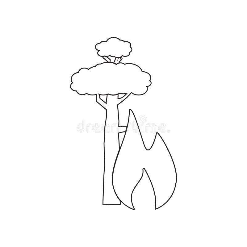wildfire pictogram r Overzicht, dun lijnpictogram voor websiteontwerp en vector illustratie