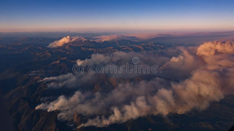 2017 Wildfires in Cascade Mountians, Washington State, USA. 2017 Wildfires in Cascade Mountains, Washington State, USA,shot from airplane royalty free stock photo