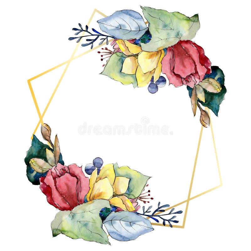 Букетские цветочные ботанические цветы Набор иллюстраций цвета воды Граница рамки бесплатная иллюстрация