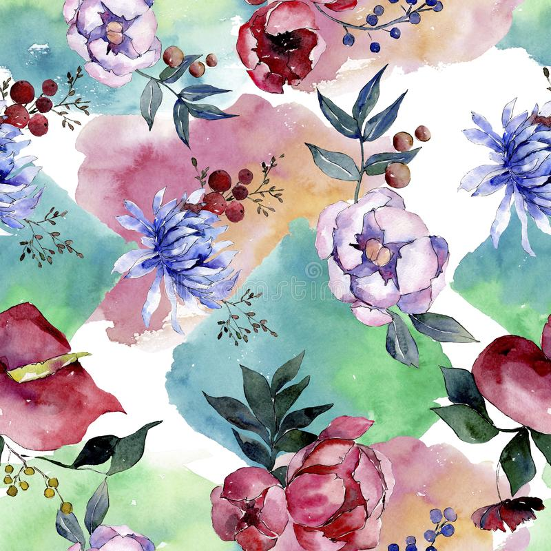 Букетские цветочные ботанические цветы Набор иллюстраций цвета воды Непрозрачный шаблон фона иллюстрация вектора
