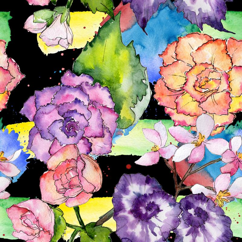 Wildflower begoni kwiatu wzór w akwarela stylu royalty ilustracja