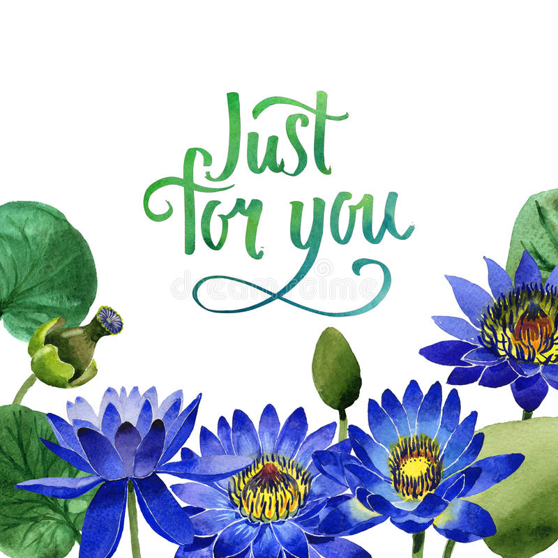 Wildflower blue lotus flower frame in a watercolor style isolated. stock illustration