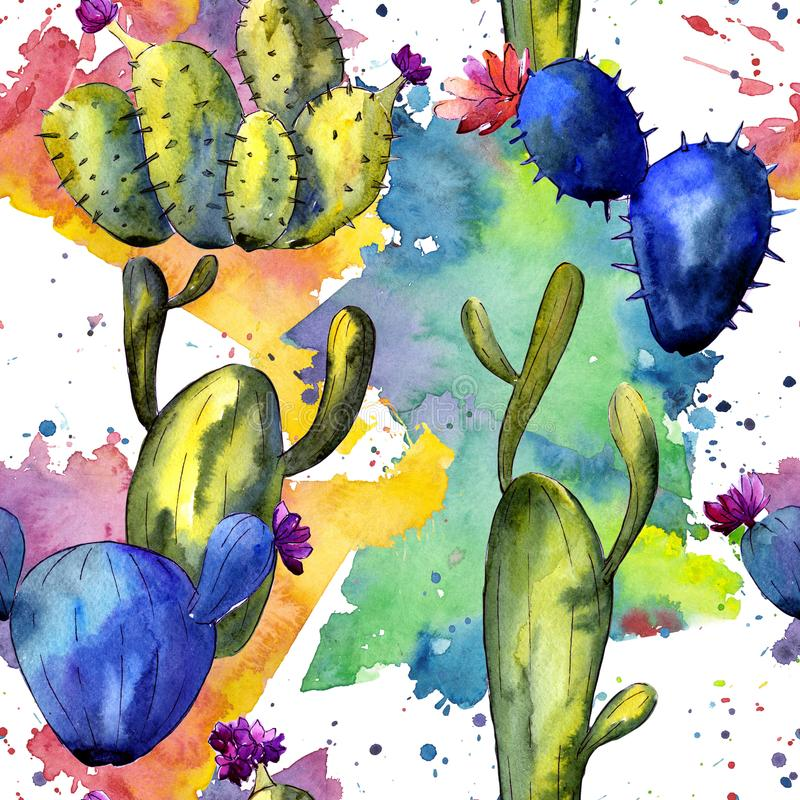 Wildflower cactus pattern in a watercolor style. Full name of the plant: cactus. Aquarelle wild flower for background, texture, wrapper pattern, frame or royalty free illustration