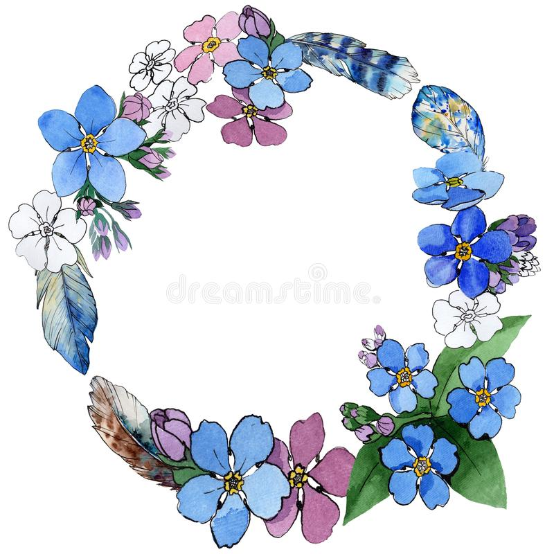 Wildflower forget-me-not flower wreath in a watercolor style. Full name of the plant: forget-me-not. Aquarelle wild flower for background, texture, wrapper vector illustration