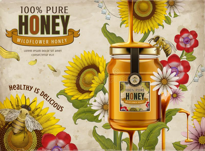 Wildflower honey ads. Delicious honey dripping from top with glass jar in 3d illustration, retro flowers elements in etching shading style, colorful tone royalty free illustration